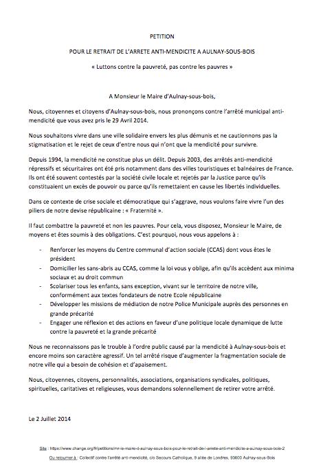 Lancement d'une pétition «pour le retrait de l'arrêté anti-mendicité à Aulnay»